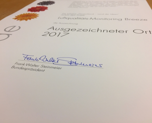 Breeze Technologies receives award from the German Federal President Frank-Walter Steinmeier