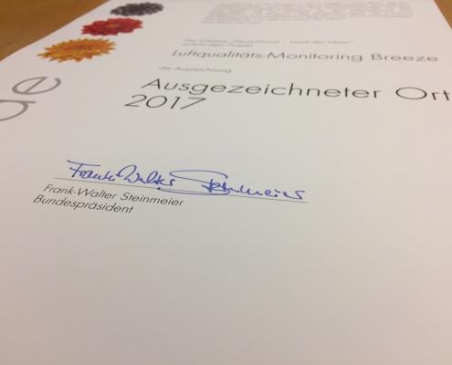 Breeze Technologies erhält Auszeichnung vom Deutschen Bundespräsidenten Steinmeier