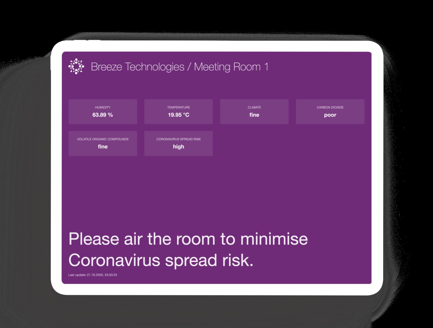 Der Corona-Präventionsmodus der Monitor-App weist auf notwendiges Lüften hin.