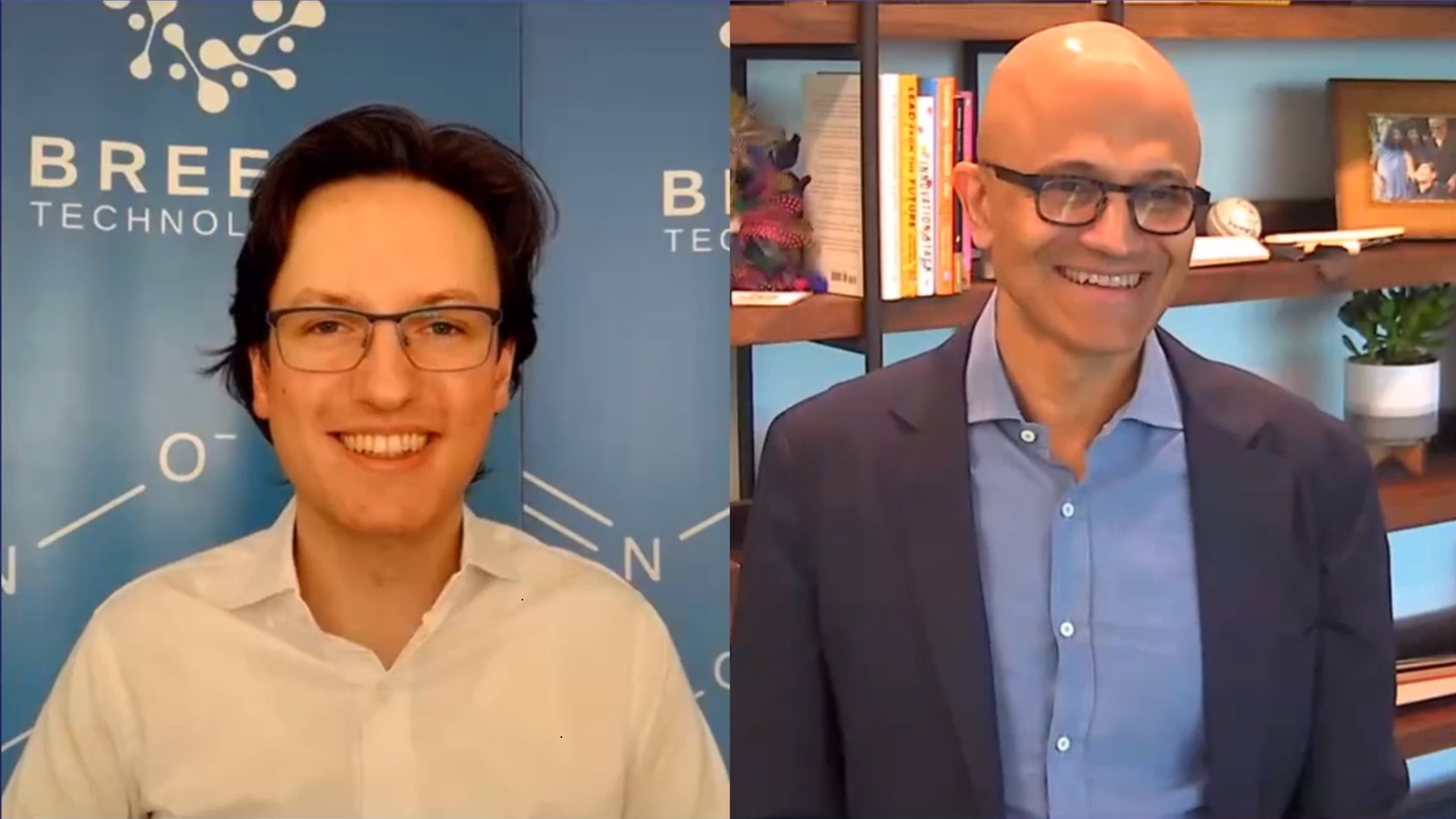 Satya Nadella visiting Breeze Technologies during his virtual country tour through Germany